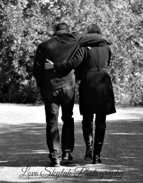 Bw walking cuddle